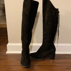 Black American Rag over the knee suede boots!